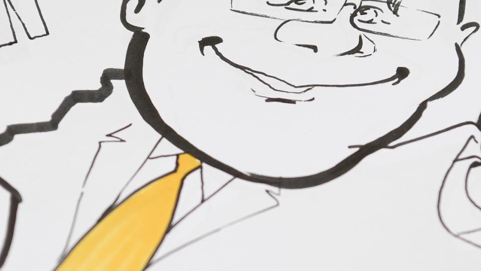 Zeichnung von Armin Laschet mit dem Land NRW in der einen Hand und einem Daumen nach oben